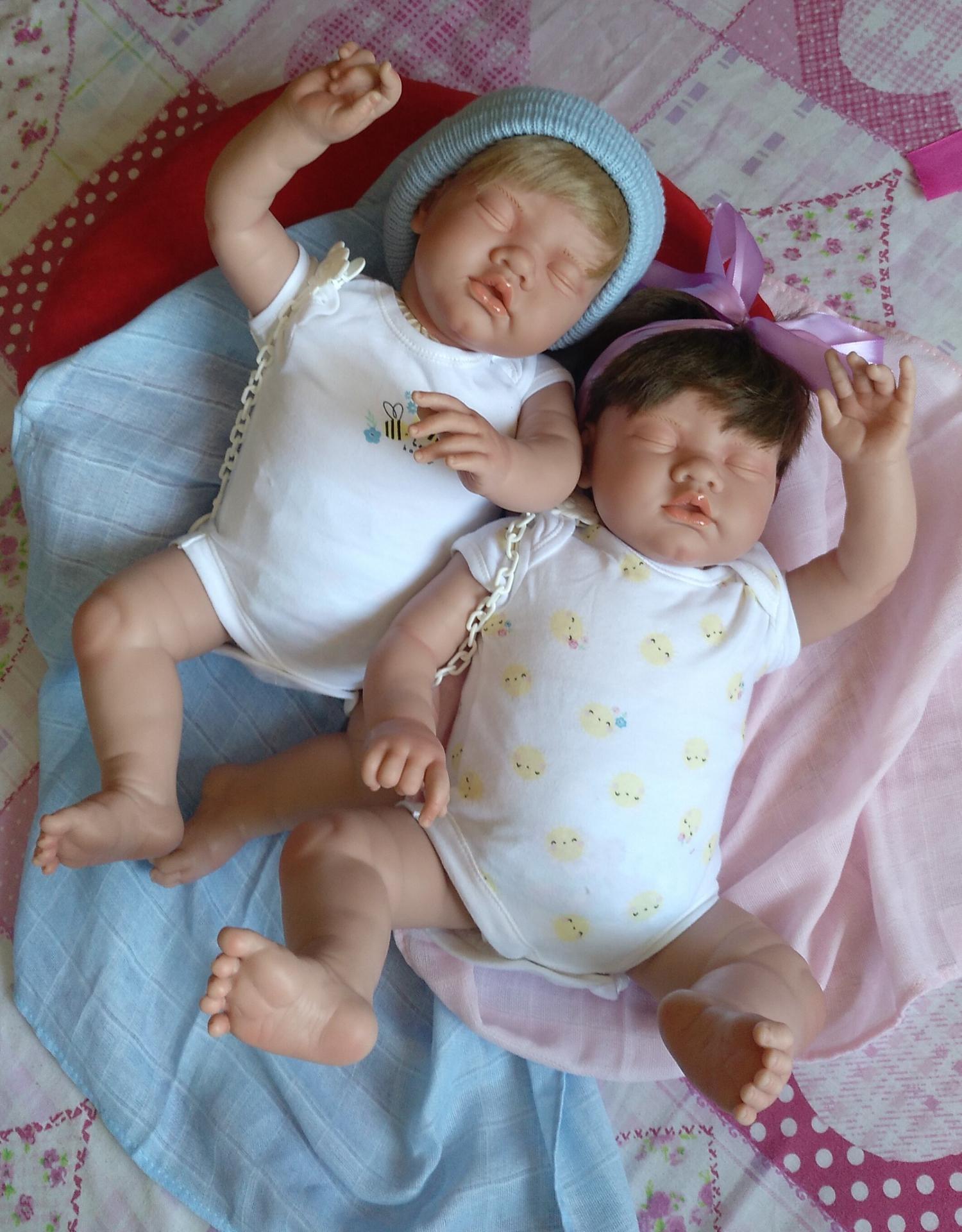 """ADRIÁN y CELINE: mellizos reborns dormiditos """"Real Baby"""""""