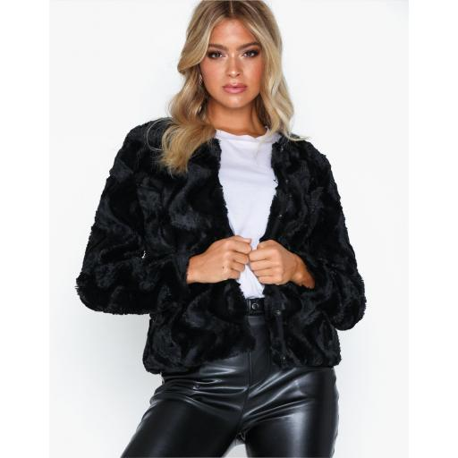 VERO MODA VMCURL SHORT FAKE FUR JACKET NOOS COLOUR BLACLK REF 10189531  [1]