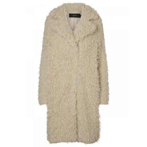 VERO MODA VMTAMARJAYLA LONG FAUX FUR COAT CURVE COLOR CATMEAL REF 10208347