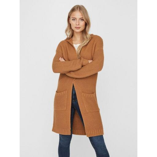 VERO MODA VMNONAME NO EDGE LS LONG HOOD CARDIGAN COLOUR AMBER GOLD REF 10217837 [1]