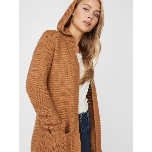 VERO MODA VMNONAME NO EDGE LS LONG HOOD CARDIGAN COLOUR AMBER GOLD REF 10217837