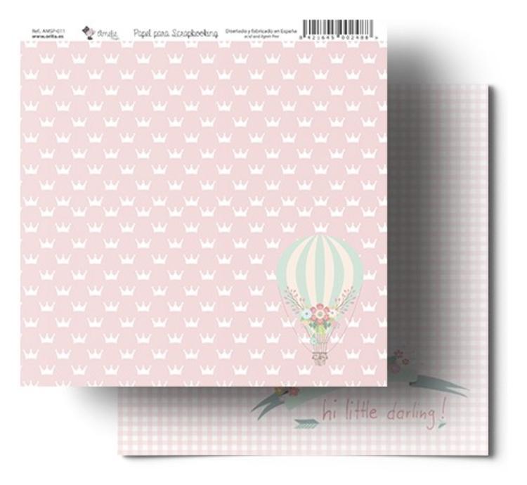 CORONAS DE PRINCESA ROSA AMELIE PAPEL SCRAPBOOKING 011