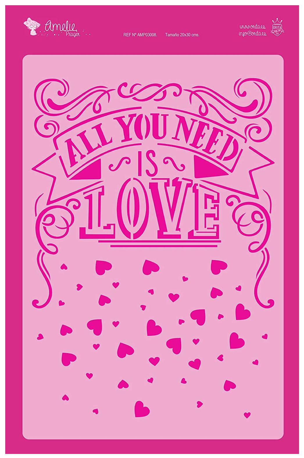 FONDO ALL YOU NEED IS LOVE AMELIE STENCIL -03008   20X30CM