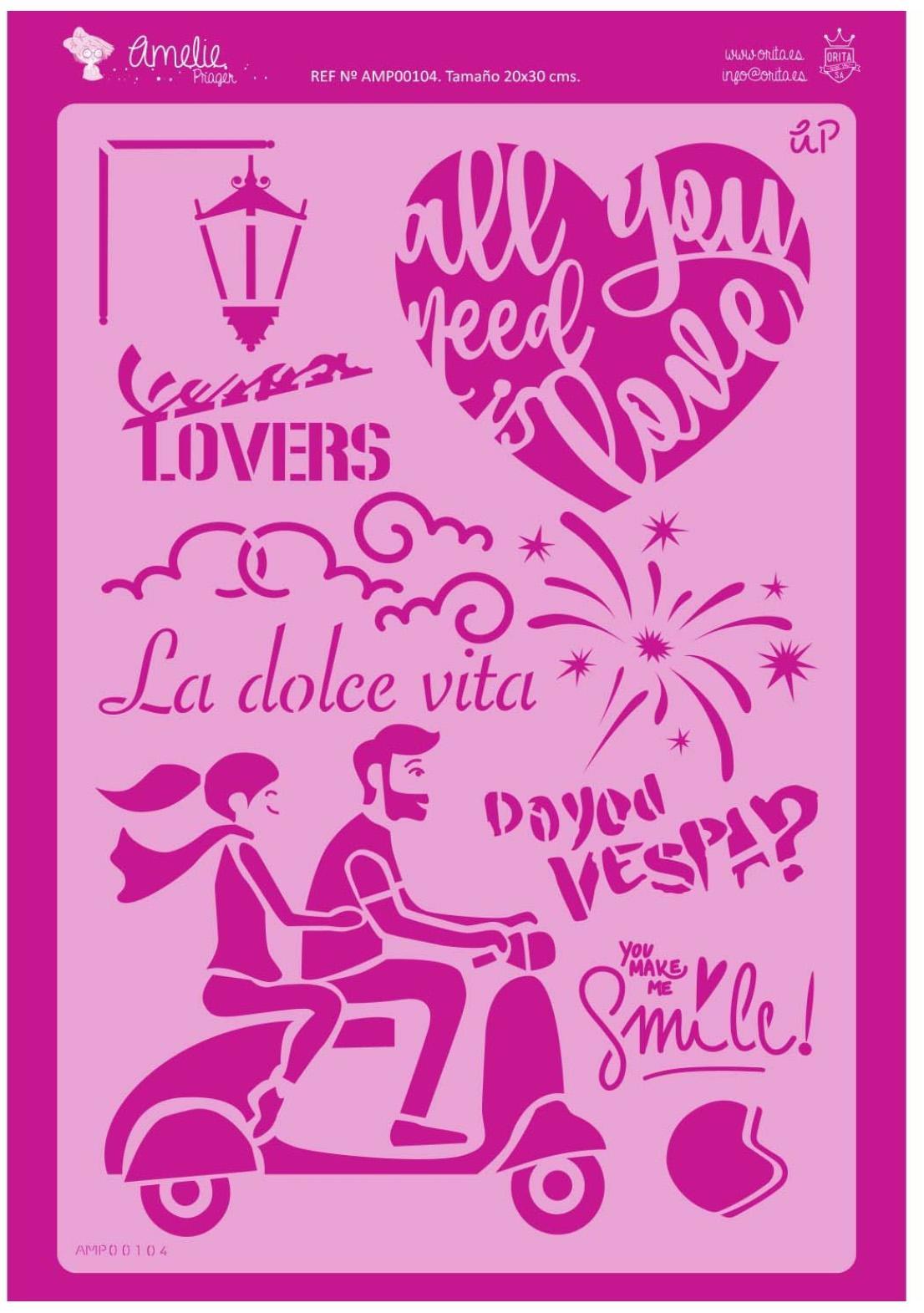 FONDO LA DOLCE VITA AMELIE STENCIL -0104   20X30CM