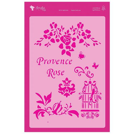 FONDO PROVENCE ROSE  AMELIE STENCIL -03030   20X30CM