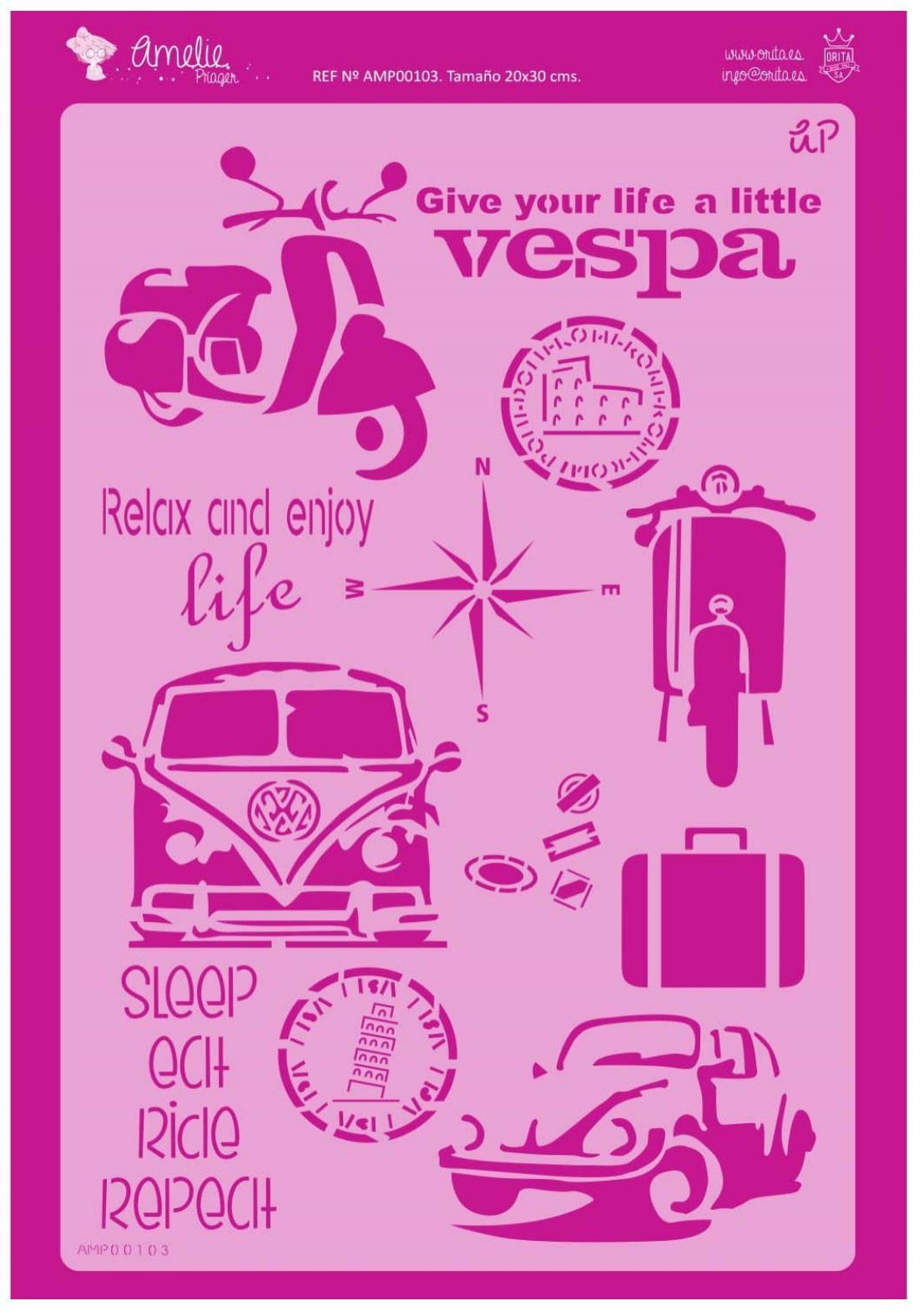 FONDO VESPA AMELIE STENCIL -0103   20X30CM
