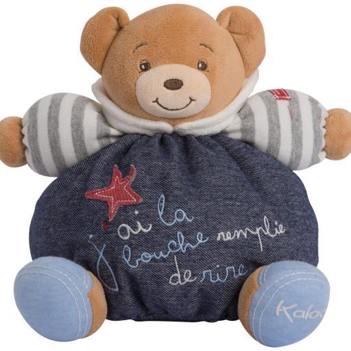 KALOO BLUE DENIM MEDIUM HAPPY CHUBBY BEAR 9600579