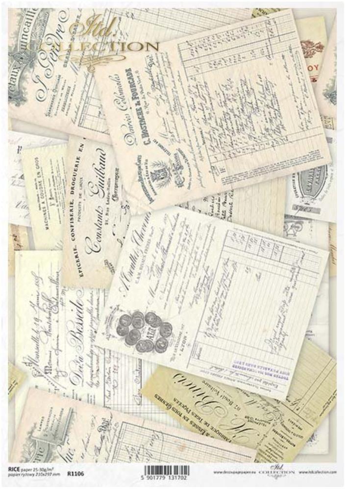 PAPEL DE ARROZ DECOUPAGE LIMITED EDITION TAMAÑO A4  REF.: R1106