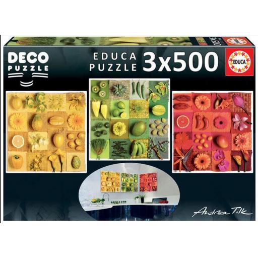 EDUCA BORRAS REF. 184541 EXOTIC FRUITS  3X500 PIEZAS