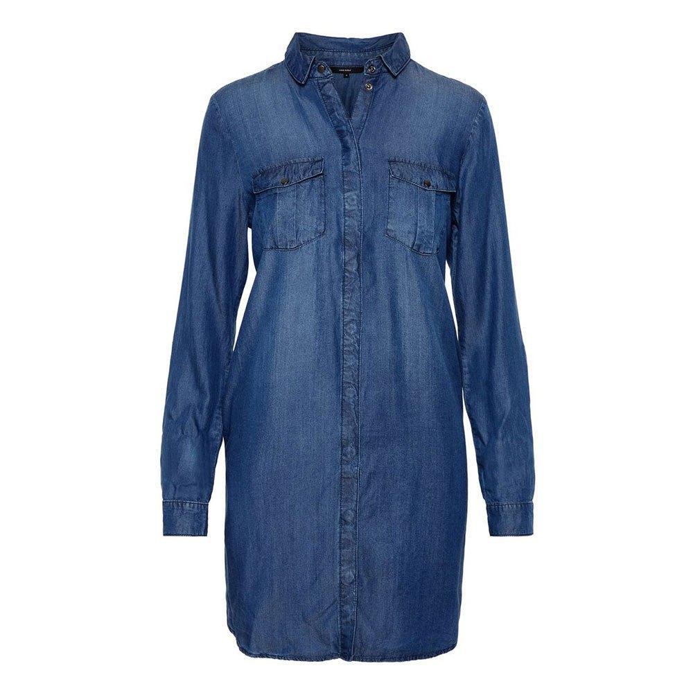 VERO MODA VMSILLA LS SHORT DRESS MB NOOS GA COLOR MEDIUM BLUE DENIM REF10218477