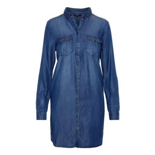 VERO MODA VMSILLA LS SHORT DRESS MB NOOS GA COLOR MEDIUM BLUE DENIM REF10218477 [0]
