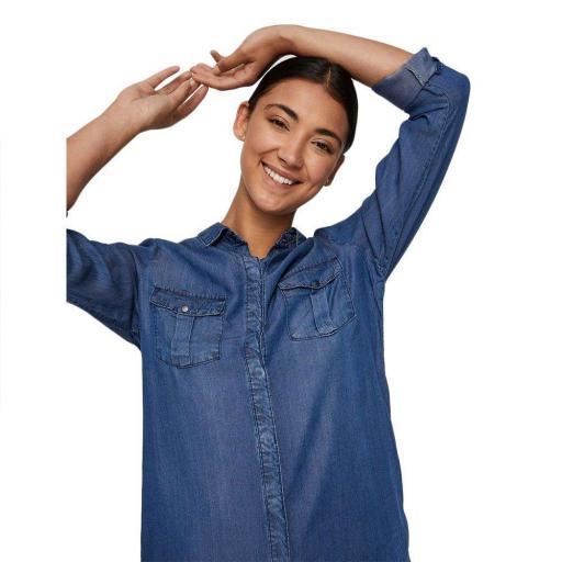 VERO MODA VMSILLA LS SHORT DRESS MB NOOS GA COLOR MEDIUM BLUE DENIM REF10218477 [1]