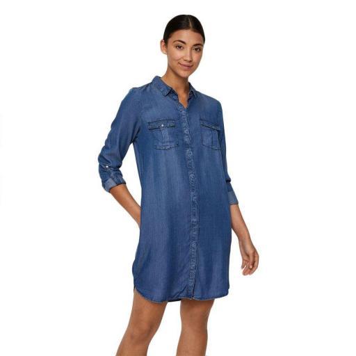 VERO MODA VMSILLA LS SHORT DRESS MB NOOS GA COLOR MEDIUM BLUE DENIM REF10218477 [3]