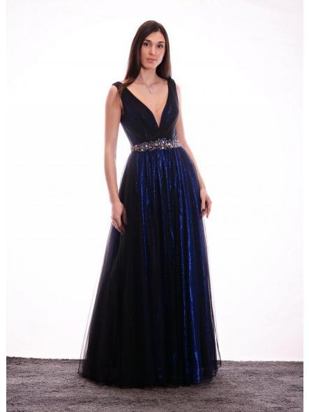 Vestido de fiesta largo, de estilo princesa. Modelo Anabella.