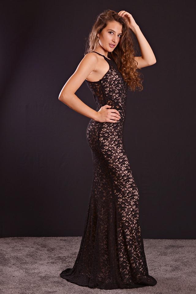 Vestido de fiesta largo. Corte sirena y encaje. Modelo Fabiola.