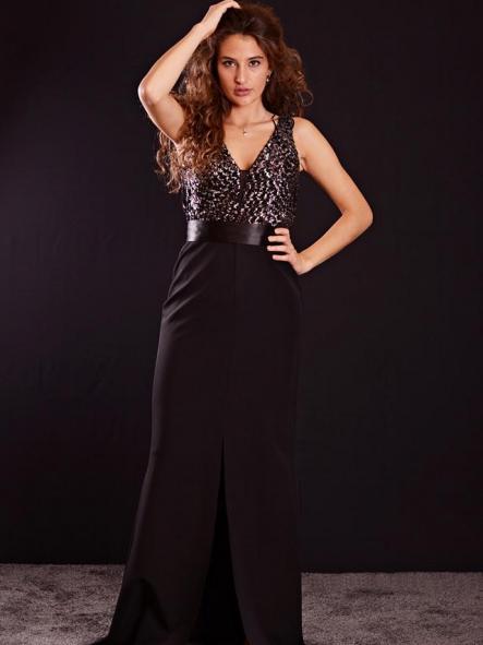 Vestido de fiesta largo, negro y plata. Modelo Florencia.