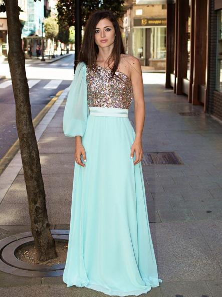 Vestido de fiesta largo, escote asimétrico .Modelo Sabina. [2]