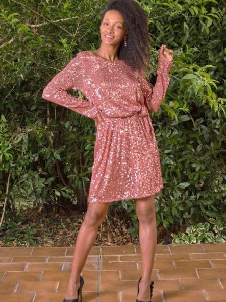 Vestido de fiesta corto Lentejuelas. Modelo Arlene. [1]