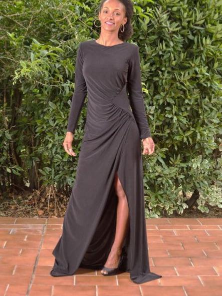 Vestido de fiesta largo. Negro.  Modelo Carline. [1]