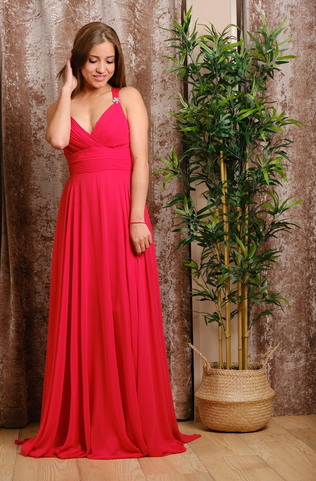 Vestido de fiesta largo.  Rojo Valentino.