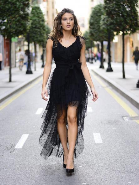 Vestido de fiesta corto asimétrico .Modelo Colette. [0]