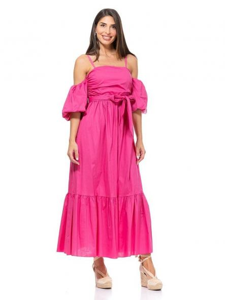 Vestido largo fucsia. Modelo Ibiza.