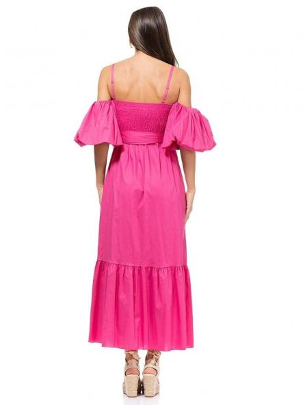 Vestido largo fucsia. Modelo Ibiza. [1]