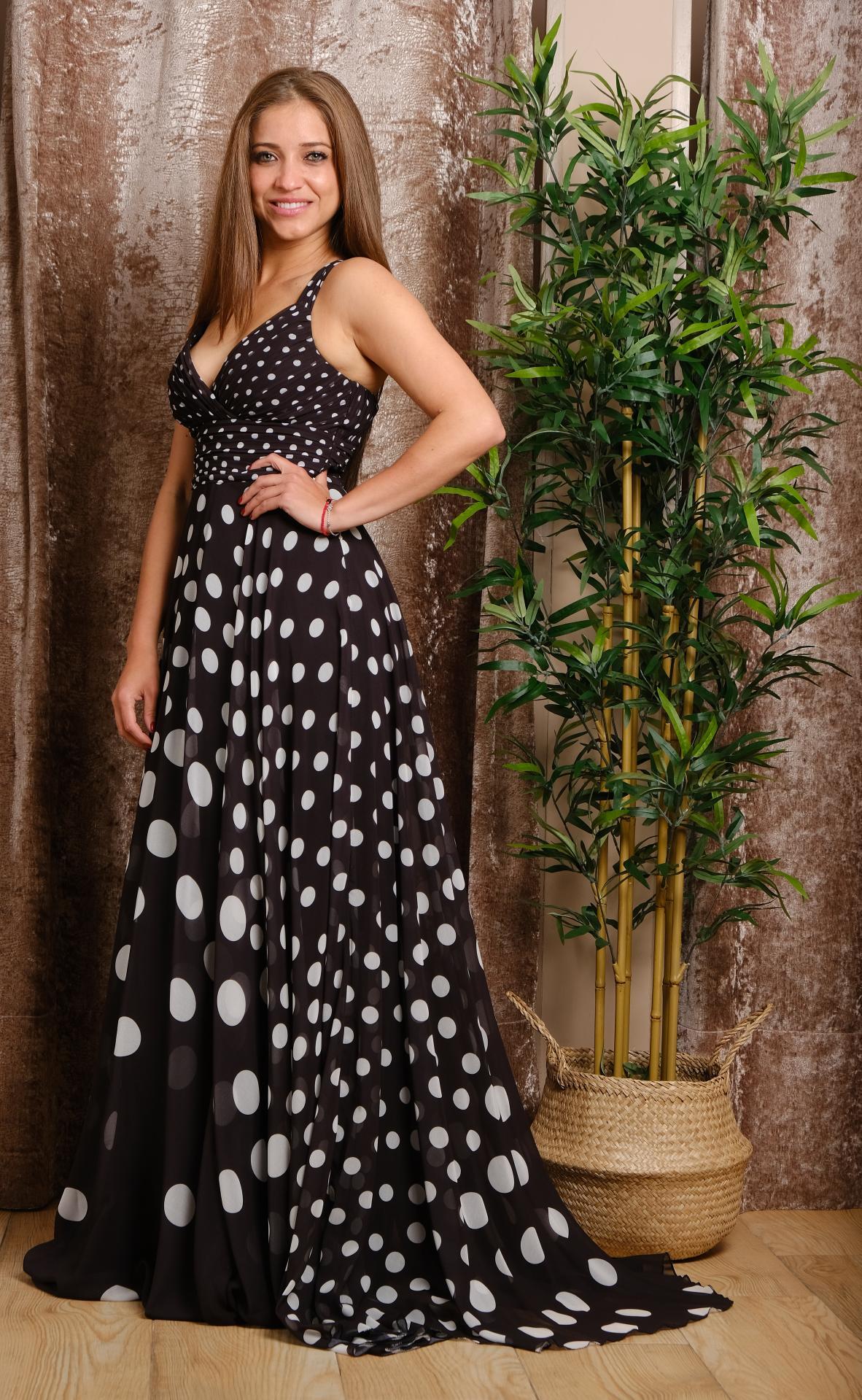 Vestido de fiesta largo. Estampado. Modelo Isa.