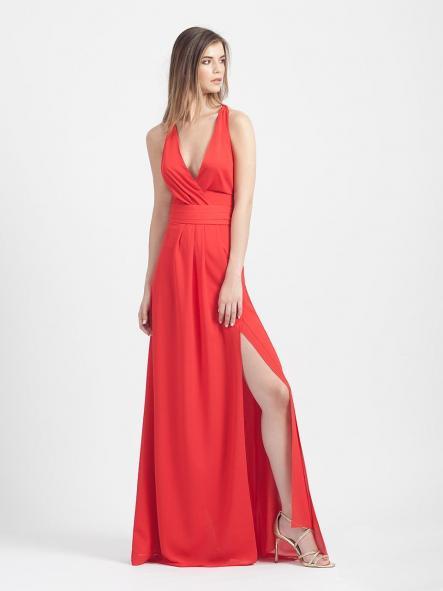 Vestido de fiesta largo. Rojo.