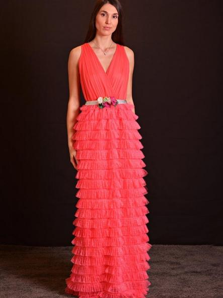 Vestido de fiesta largo. Modelo Plumetti