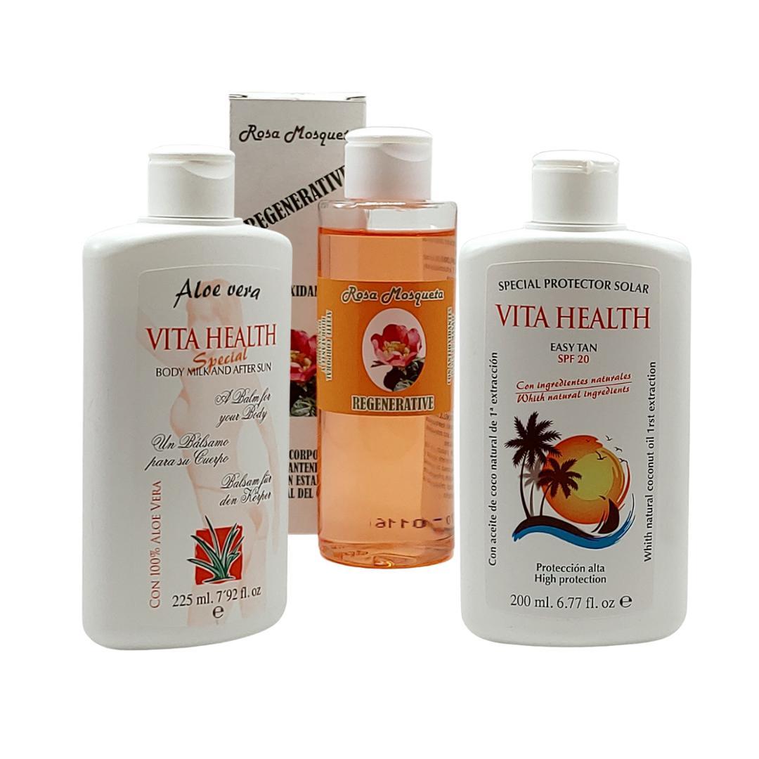 Set Body Milk + Protector Solar + Aceite Rosa Mosqueta