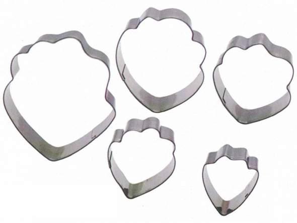 Set  5 cortadores de Peonía