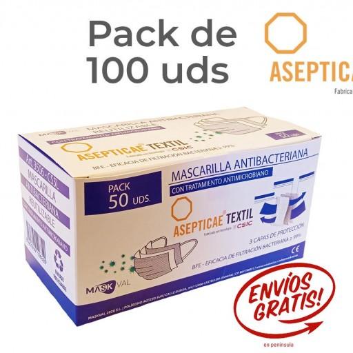 ANTIMICROBIANA REUTILIZABLE CINCO LAVADOS Pack 100 Uds