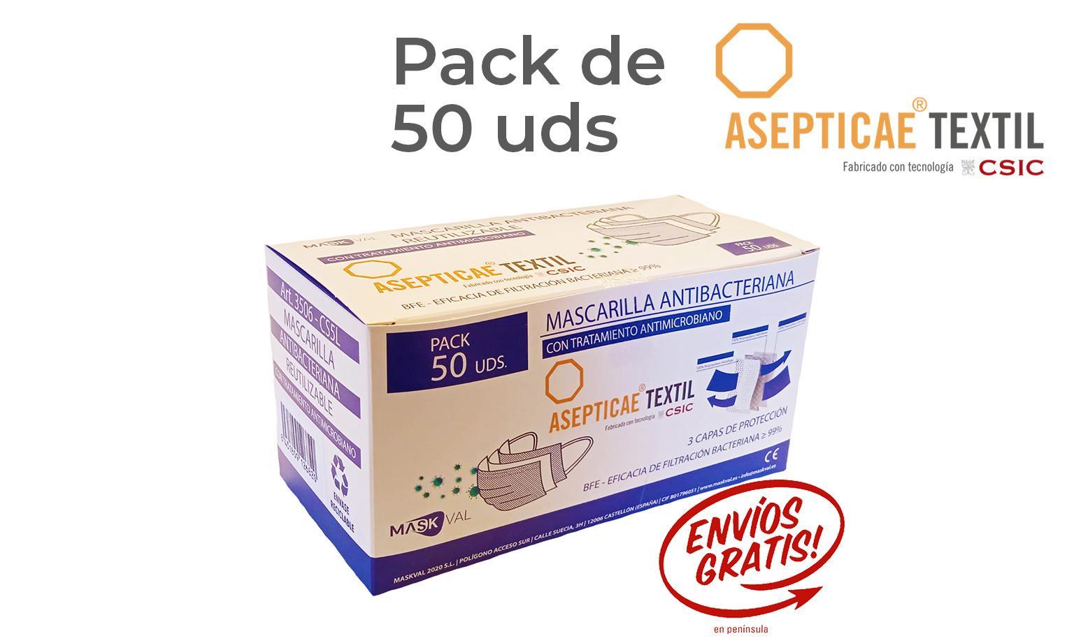 ANTIMICROBIANA CSIC REUTILIZABLE CINCO LAVADOS Pack 50 Uds