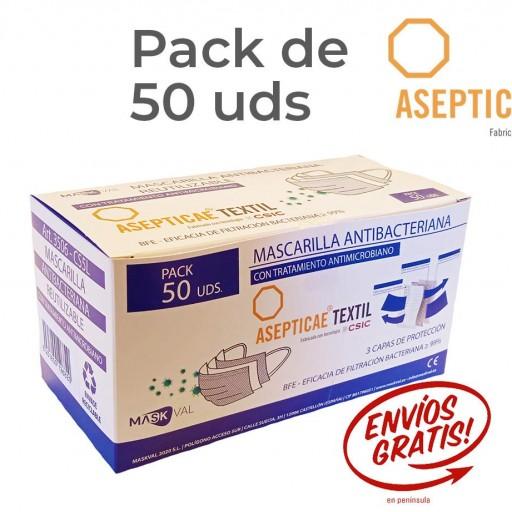 ANTIMICROBIANA REUTILIZABLE CINCO LAVADOS Pack 50 Uds