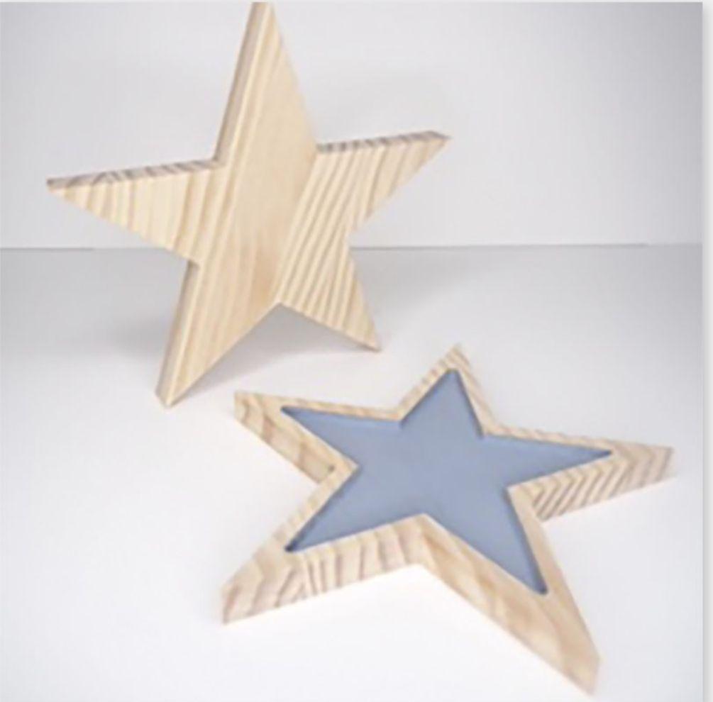 pack 2 estrellas madera maciza