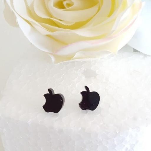 pendientes corona o manzana negros [1]