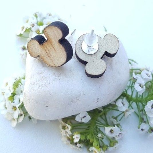 pendientes madera Mickey