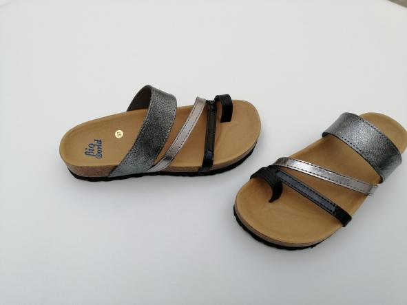 DEBOD, combi plata, acero y negros, NUEVO 2020, sandalias veganas, sandalias veganas mujer, calzado vegano, sandalias de tacón bajo, sandalias bioworld, vegan shoes.