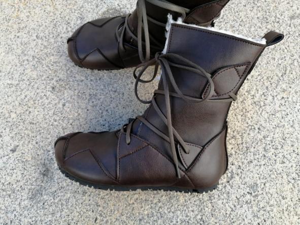 BOSQUE marrón oscuro con forro blanco tipo borrego, fake wool Envío Gratis, Botas Veganas, Botines Veganos, Zapatos de Invierno, Botas de Encaje [2]