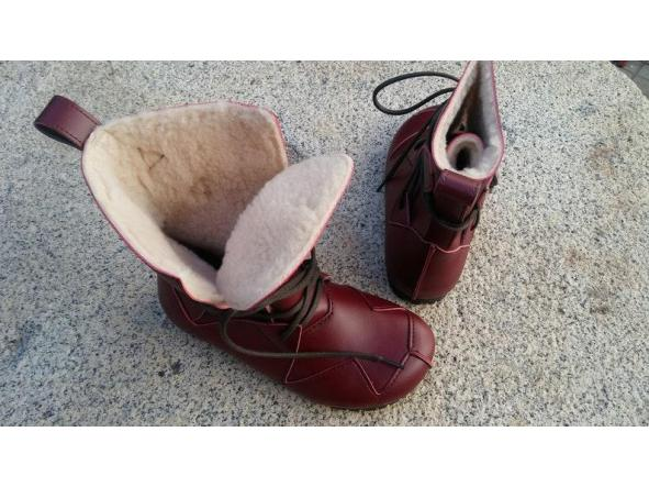 BOSQUE BURDEOS, fake wool Envío Gratis, Botas Veganas, Botines Veganos, Zapatos de Invierno, Botas de Encaje [3]