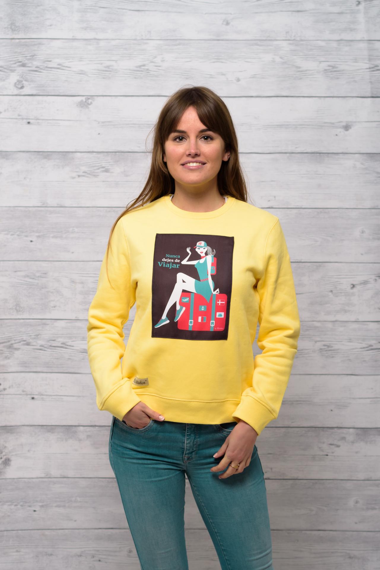 Sudadera de mujer modelo amarillo Nunca dejes de viajar