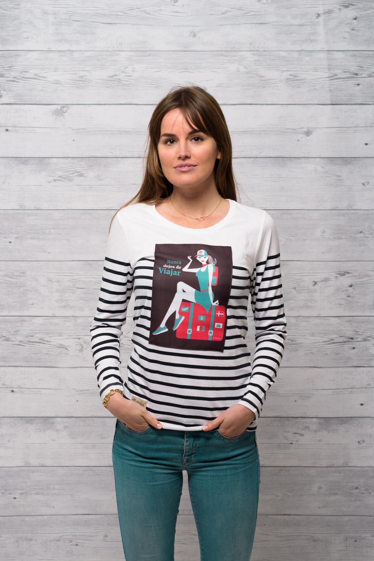 Camiseta marinera manga larga Nunca Dejes De ViJar
