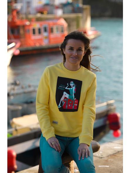 Sudadera de mujer modelo amarillo Nunca dejes de viajar [2]