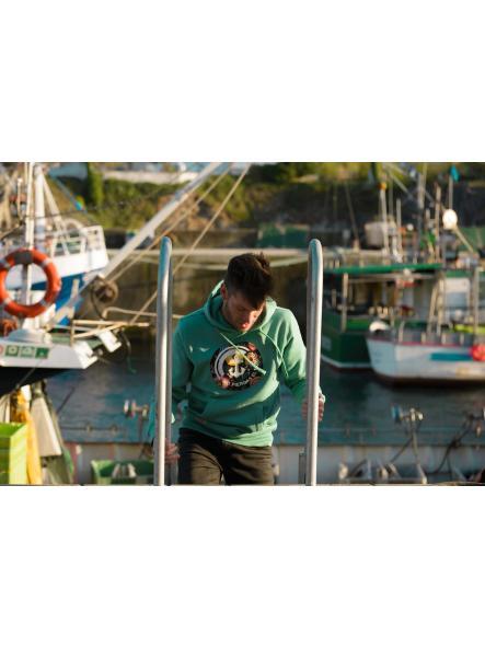 Sudadera con capucha unisex color verde No pierdas el Norte [3]