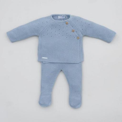 Conjunto Bebé polaina en Azul Empolvado de Pangasa.