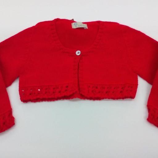 Chaqueta roja en perle de niña de Yoedu .