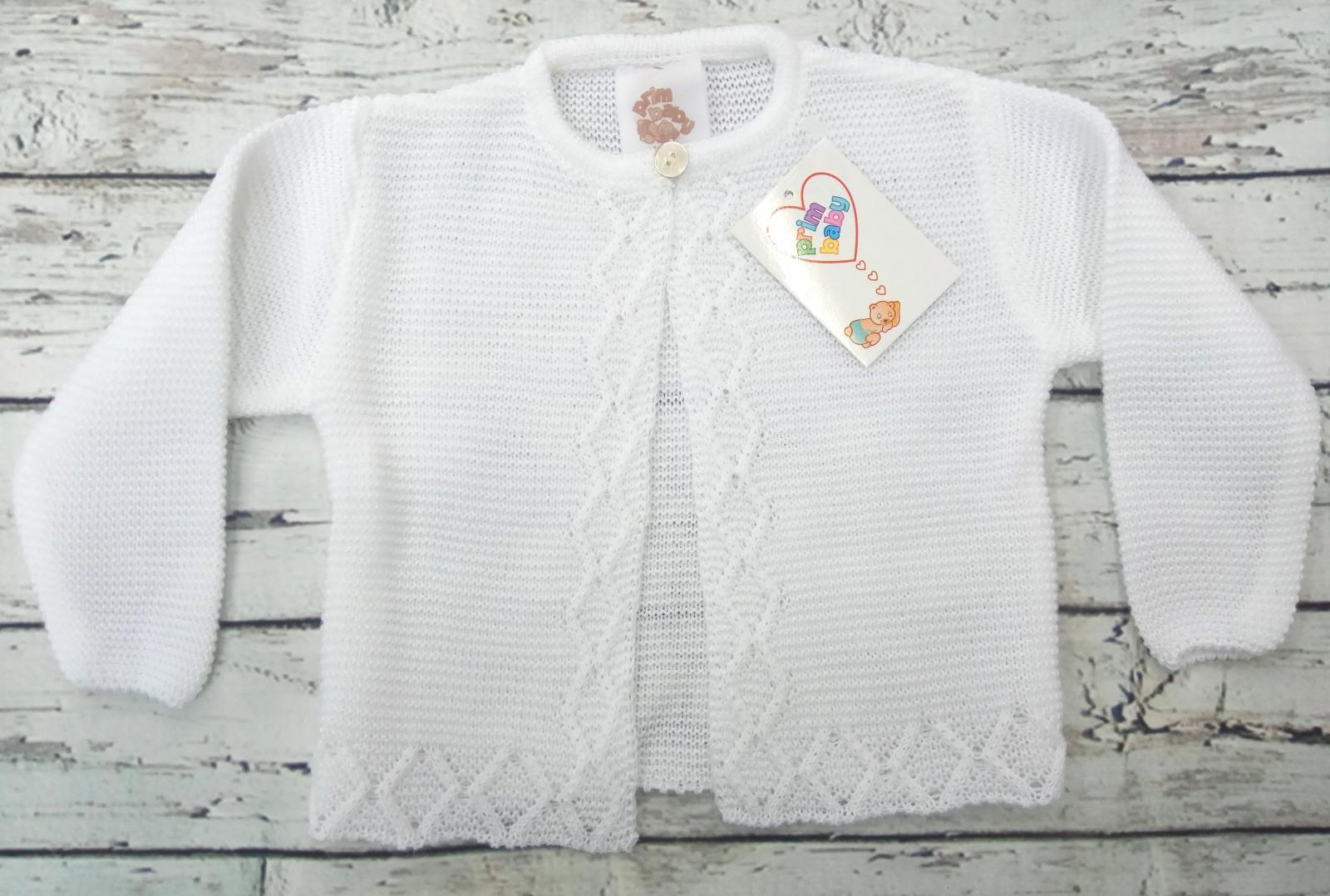 Chaqueta de niño/a blanca de perlé de Prim Baby.