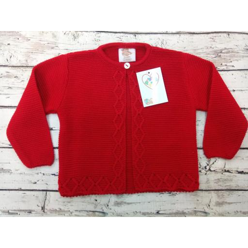 Chaqueta de niño/a  en rojo  de perlé de Prim Baby.