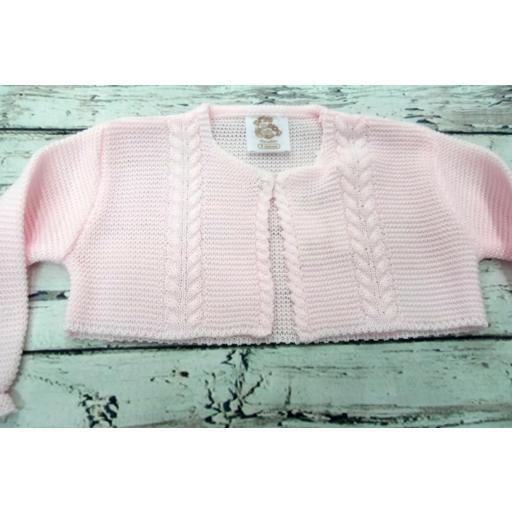 Chaqueta de niña rosa de perlé de Prim Baby.  [1]